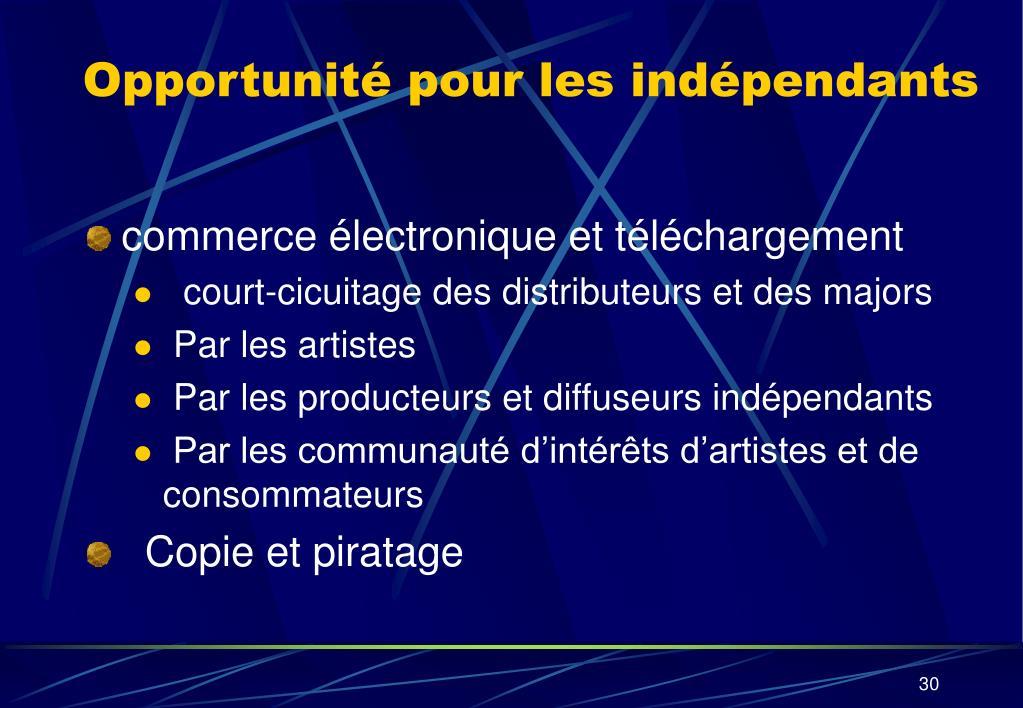Opportunité pour les indépendants