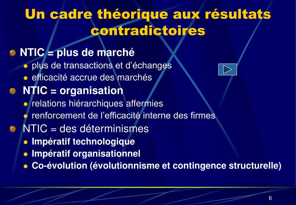 Un cadre théorique aux résultats contradictoires