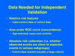 data needed for independent validation