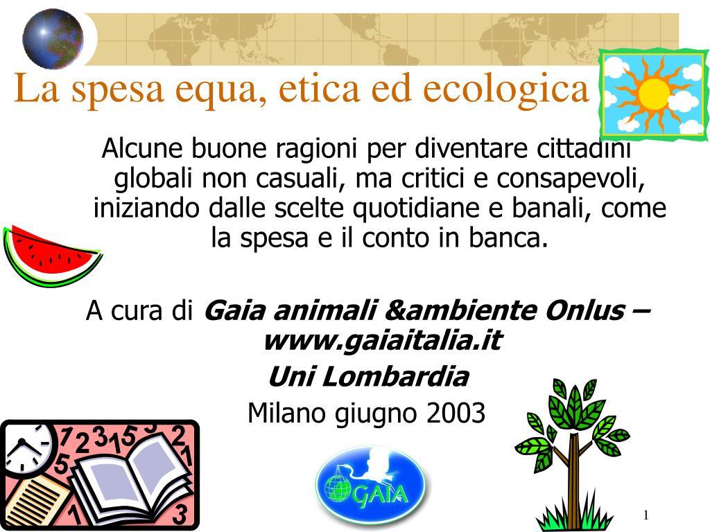la spesa equa etica ed ecologica l.