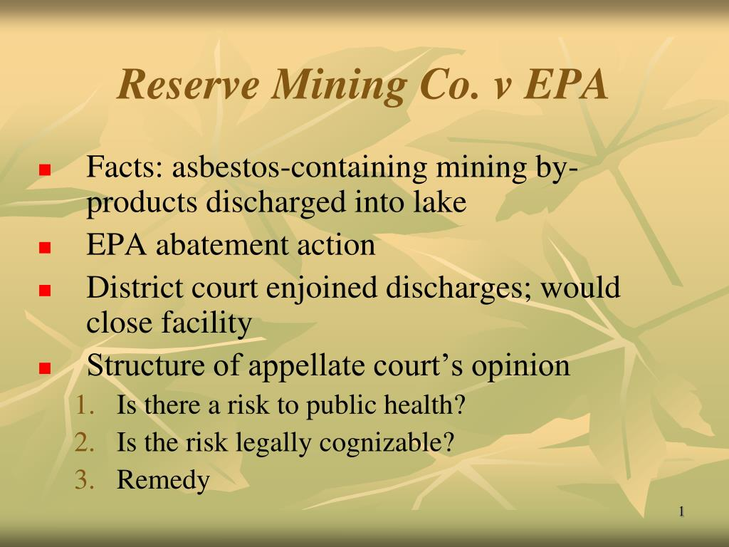 reserve mining co v epa l.