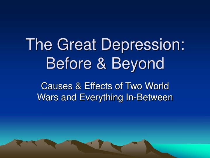 the great depression before beyond n.