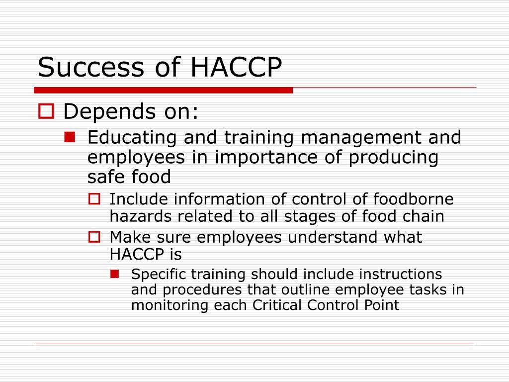 Success of HACCP