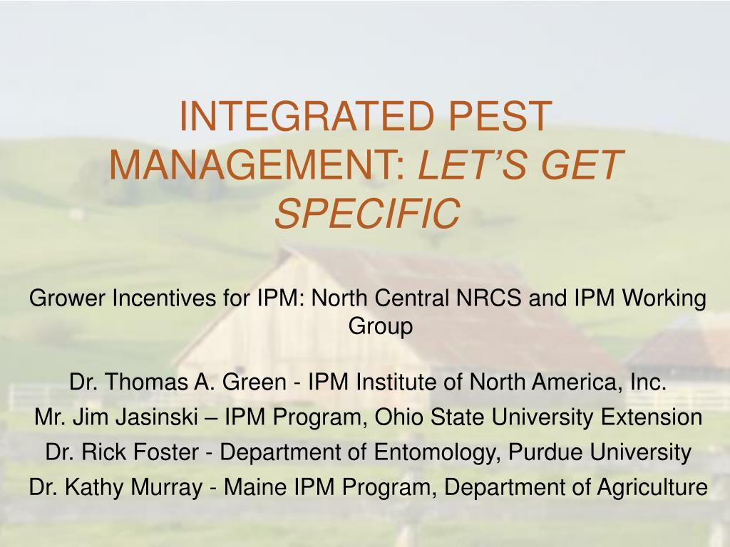 integrated pest management let s get specific l.