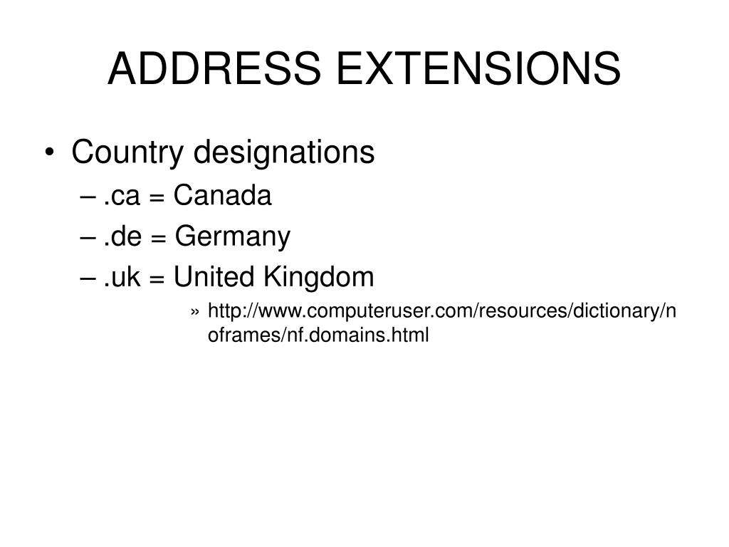 ADDRESS EXTENSIONS