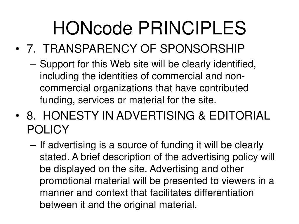 HONcode PRINCIPLES