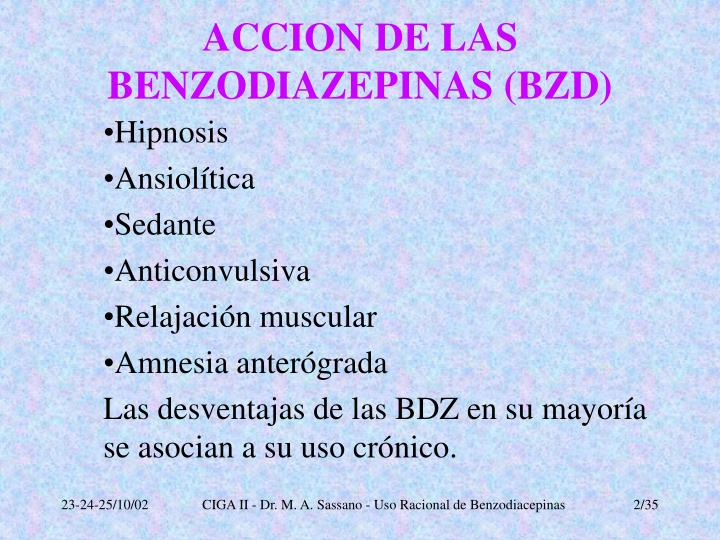 Accion de las benzodiazepinas bzd