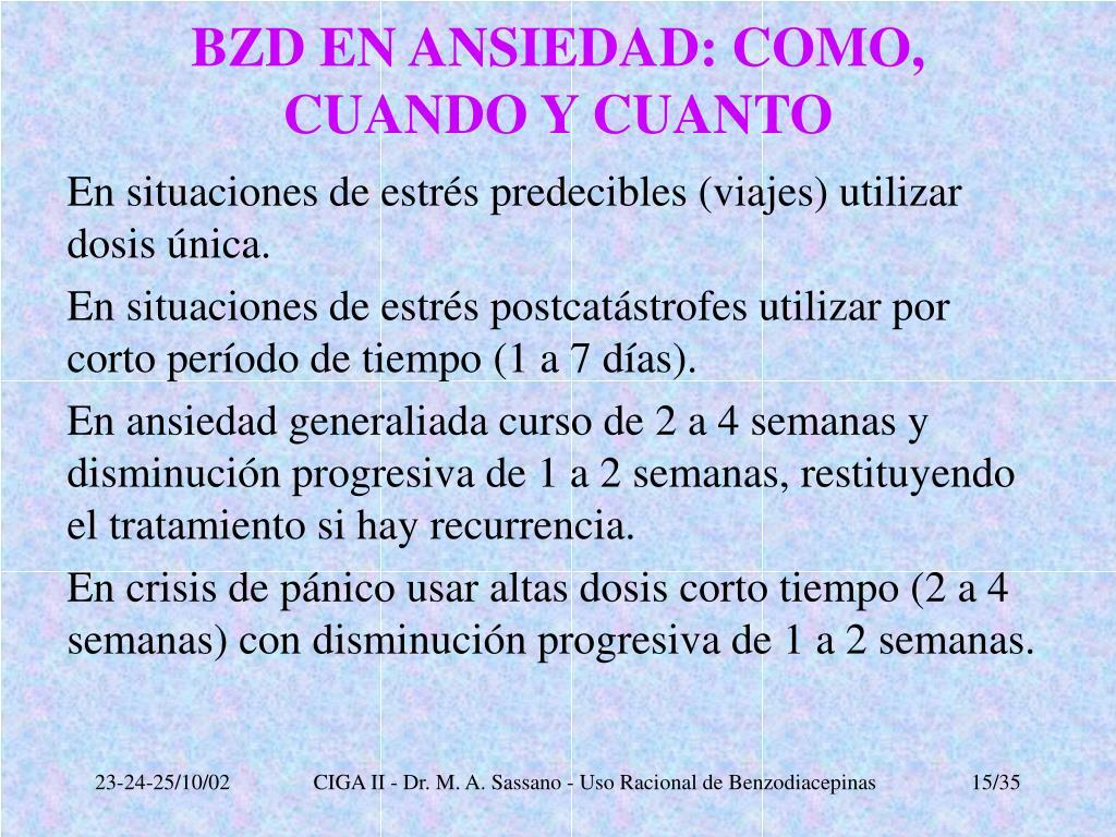 BZD EN ANSIEDAD: COMO, CUANDO Y CUANTO
