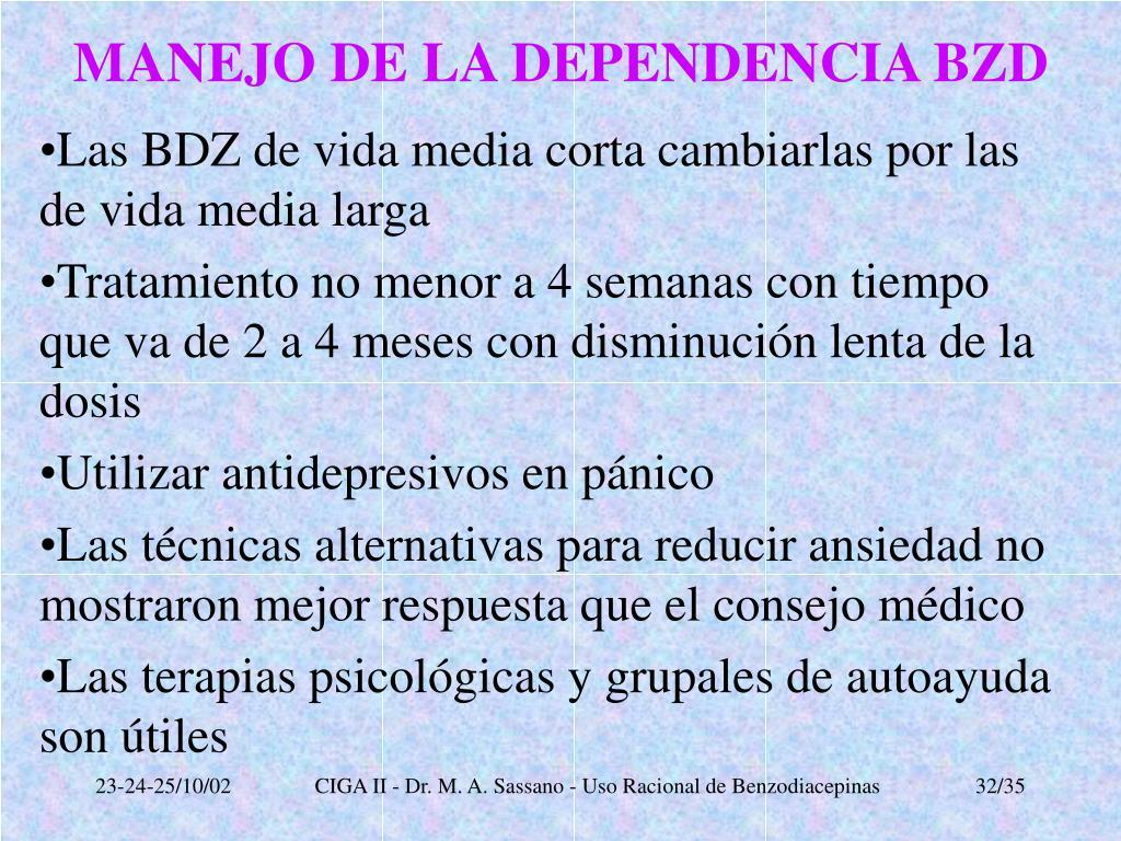 MANEJO DE LA DEPENDENCIA BZD