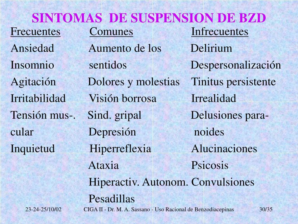 SINTOMAS  DE SUSPENSION DE BZD