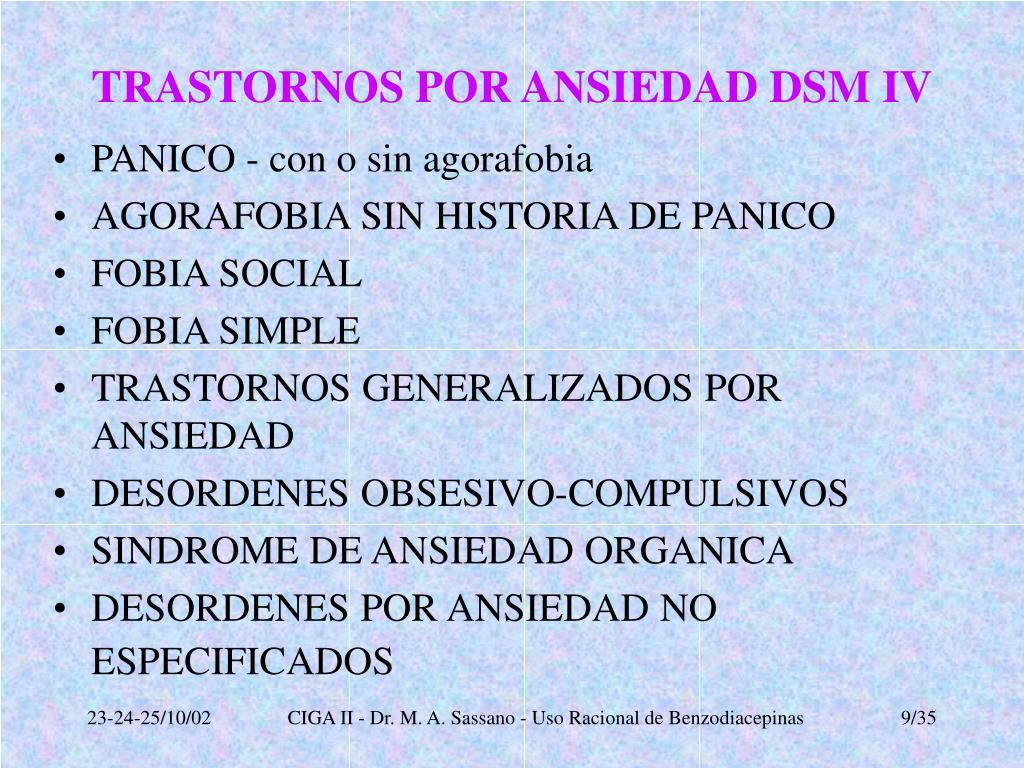 TRASTORNOS POR ANSIEDAD DSM IV
