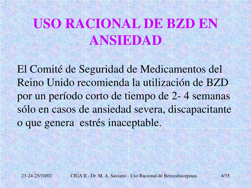 USO RACIONAL DE BZD EN ANSIEDAD
