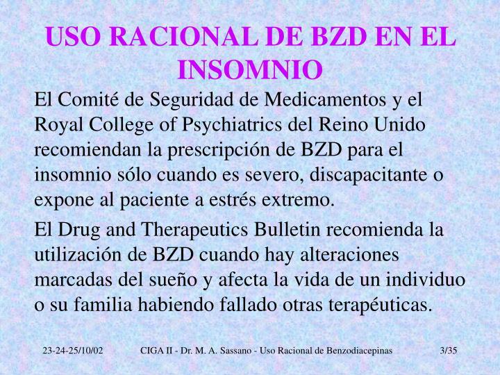 Uso racional de bzd en el insomnio