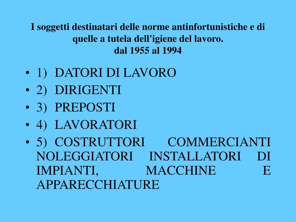 I soggetti destinatari delle norme antinfortunistiche e di quelle a tutela dell'igiene del lavoro.