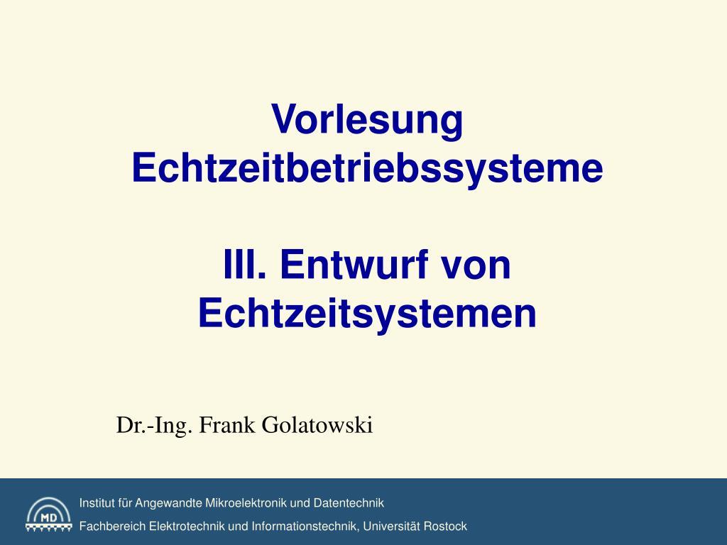 vorlesung echtzeitbetriebssysteme iii entwurf von echtzeitsystemen l.