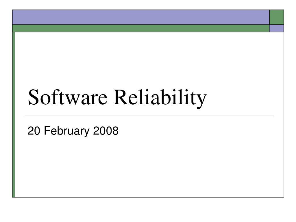 software reliability l.