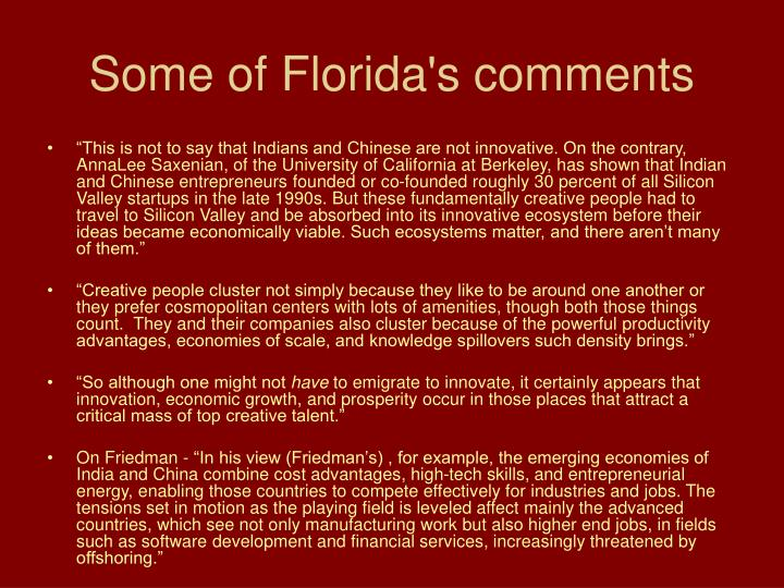 Some of Florida's comments