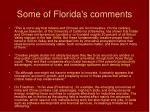 some of florida s comments