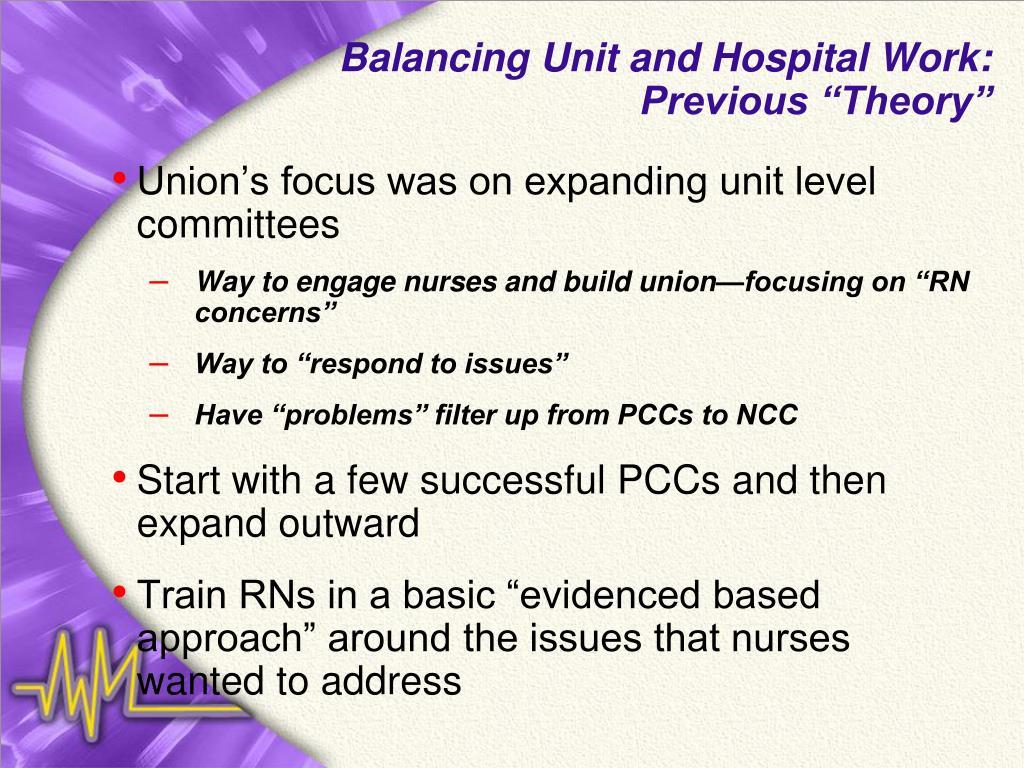 Balancing Unit and Hospital Work: