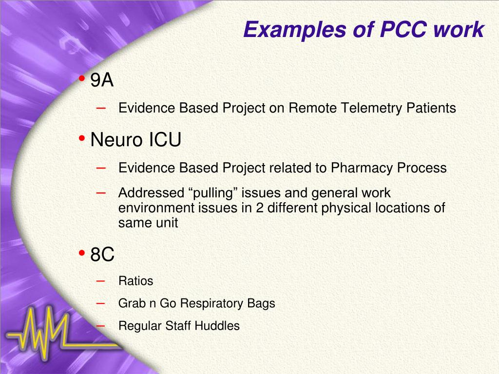 Examples of PCC work