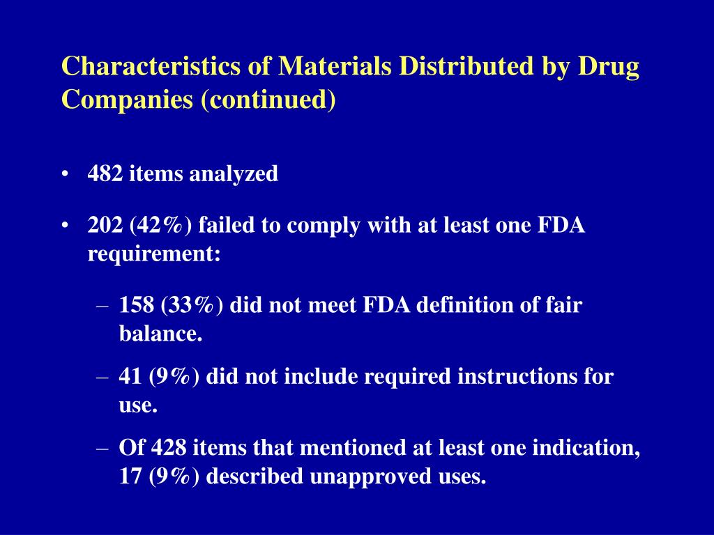 Characteristics of Materials Distributed by Drug Companies (continued)