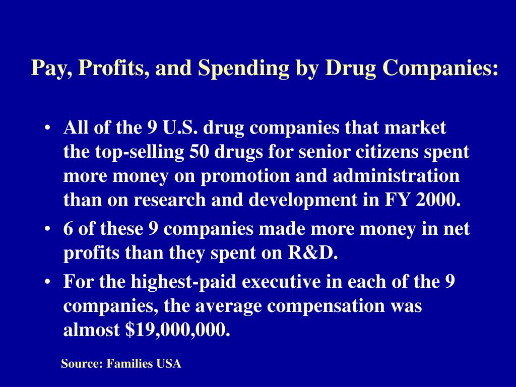 Pay, Profits, and Spending by Drug Companies: