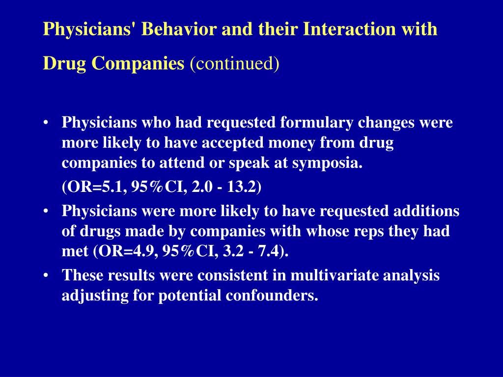 Physicians' Behavior and their Interaction with Drug Companies