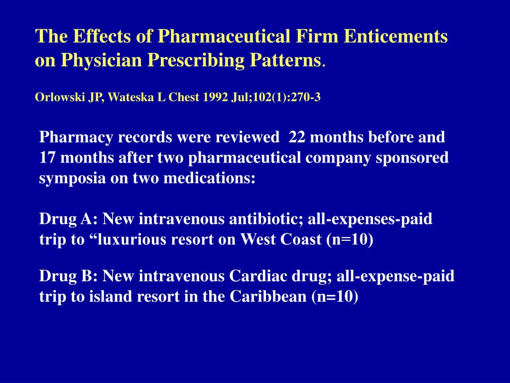 The Effects of Pharmaceutical Firm Enticements on Physician Prescribing Patterns