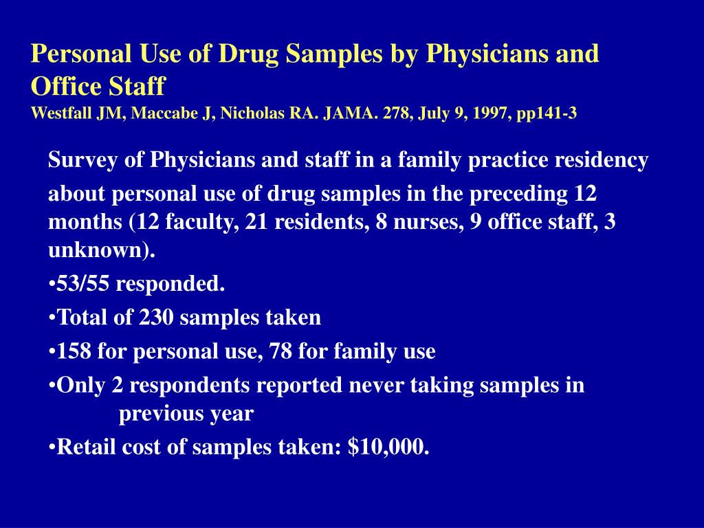 Personal Use of Drug Samples by Physicians and Office Staff