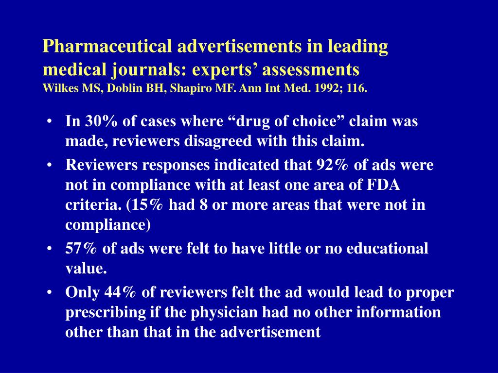 Pharmaceutical advertisements in leading medical journals: experts' assessments
