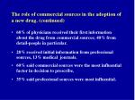 the role of commercial sources in the adoption of a new drug continued