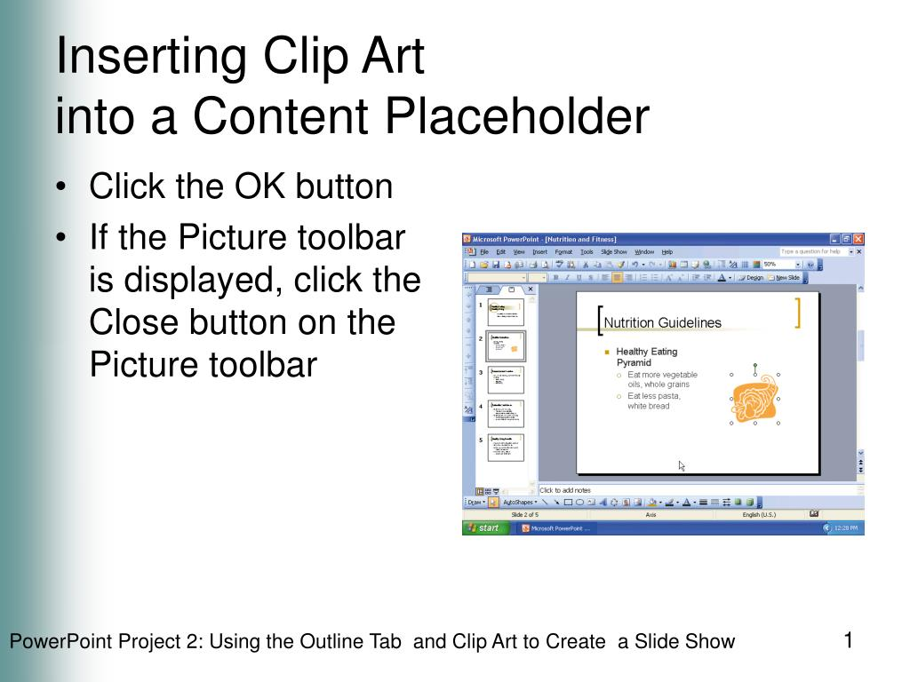 inserting clip art into a content placeholder l.