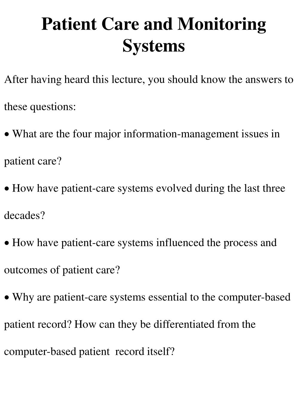 patient care and monitoring systems l.