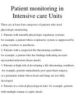 patient monitoring in intensive care units