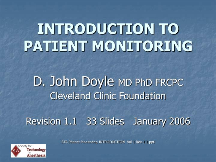 introduction to patient monitoring n.