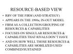 resource based view