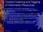 content indexing and tagging of information resources