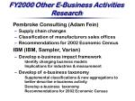 fy2000 other e business activities research