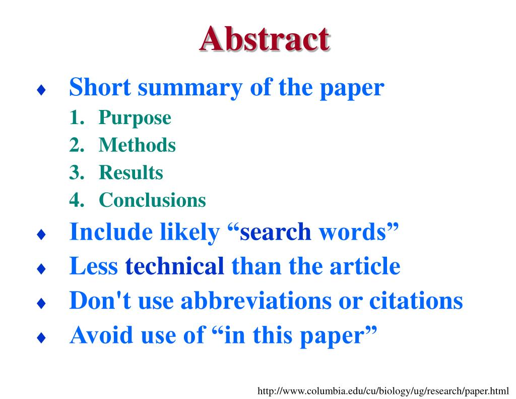 using abbreviations research paper