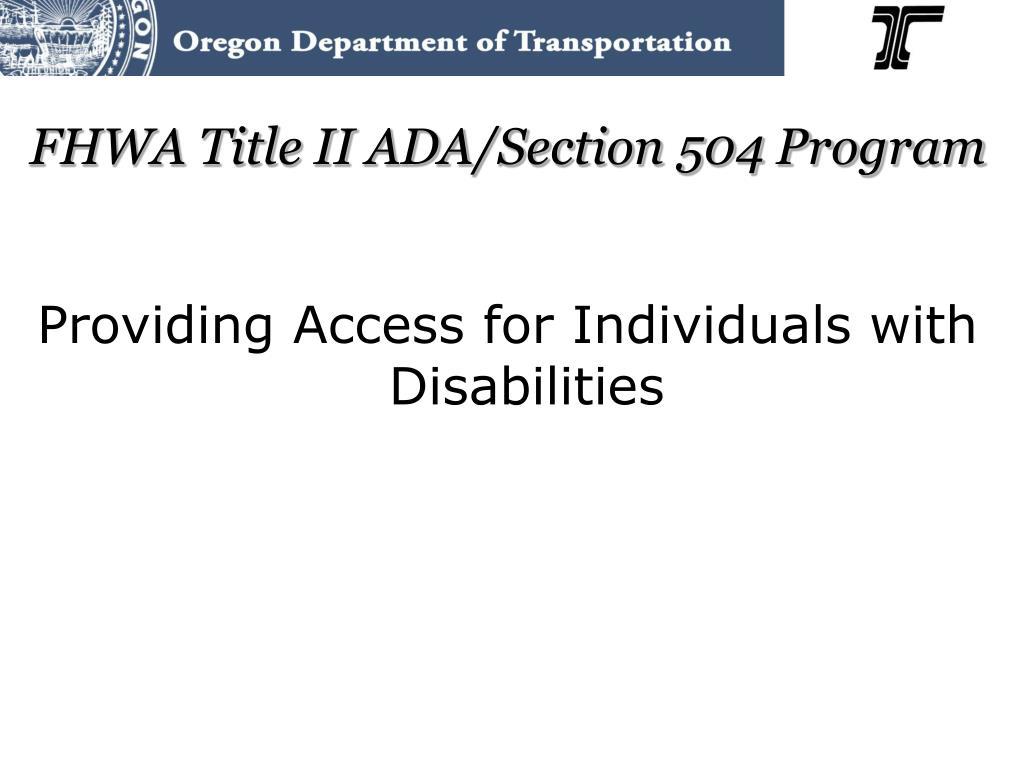 fhwa title ii ada section 504 program l.