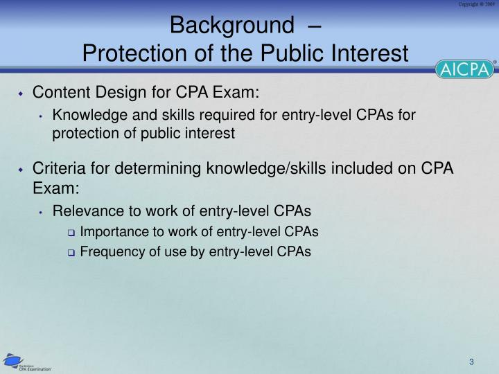 Background protection of the public interest