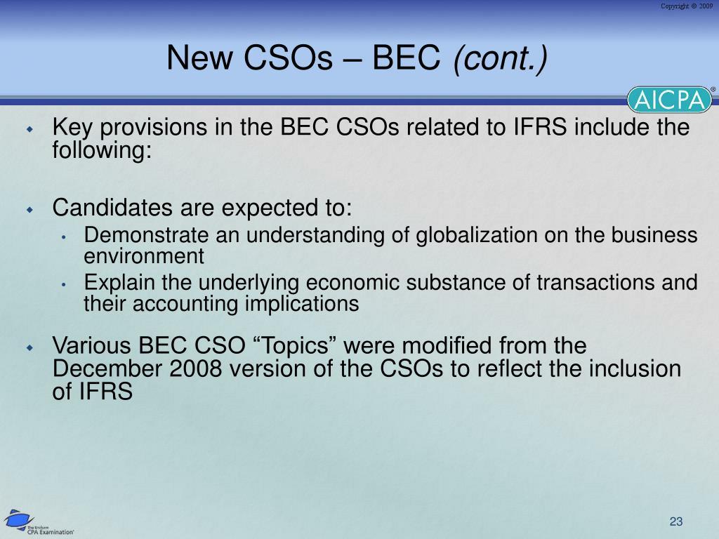 New CSOs – BEC