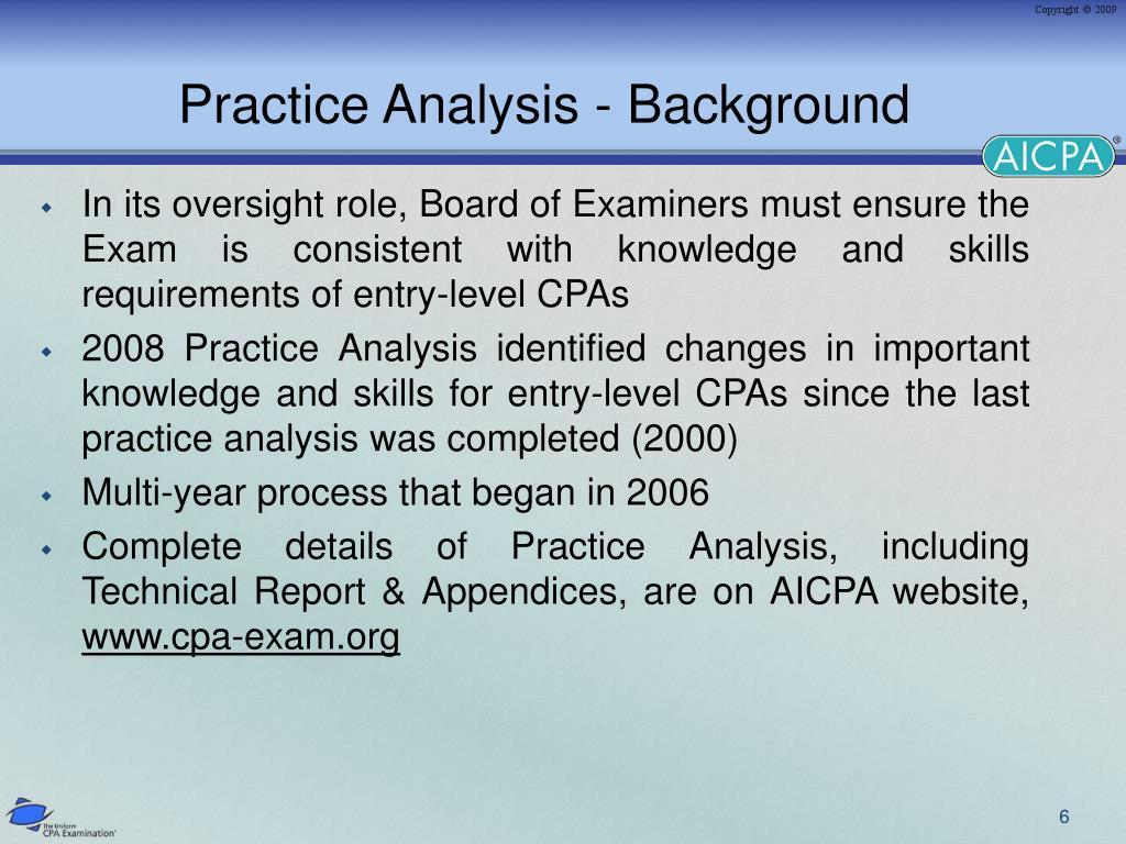 Practice Analysis - Background