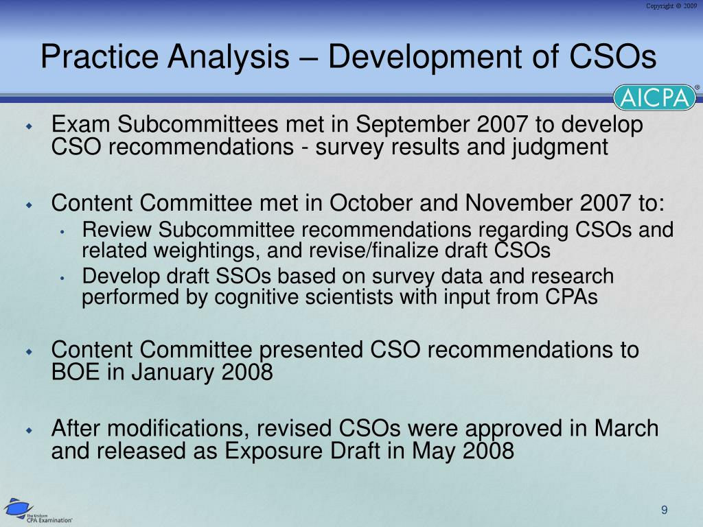 Practice Analysis – Development of CSOs