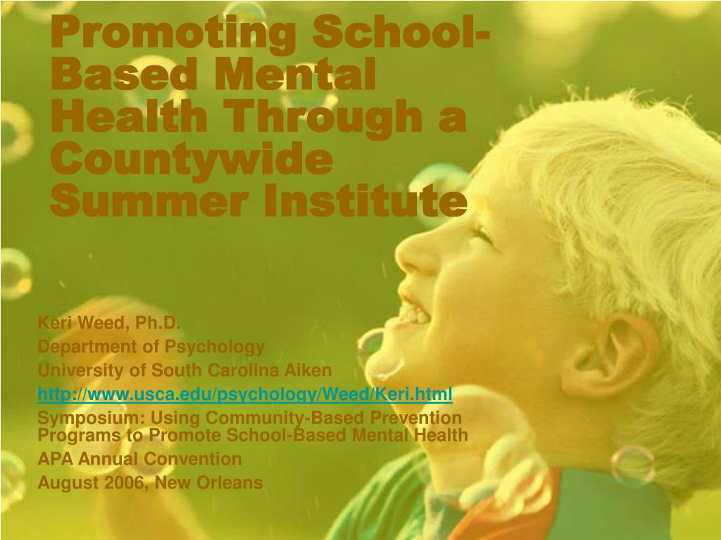 promoting school based mental health through a countywide summer institute l.