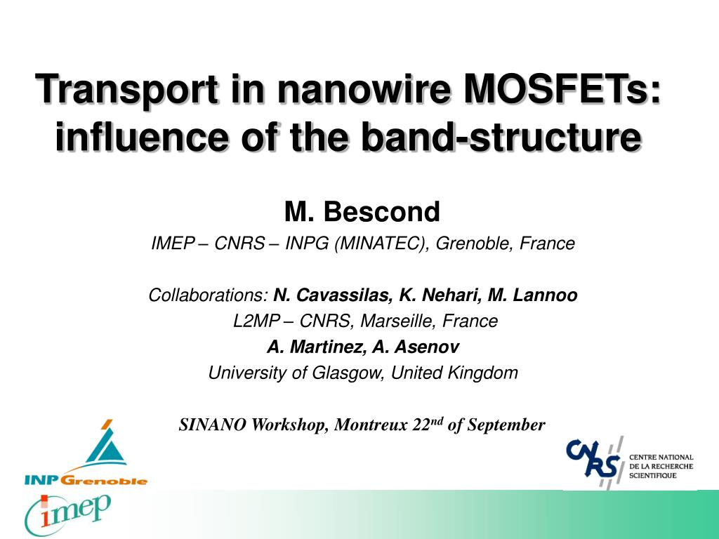 transport in nanowire mosfets influence of the band structure l.