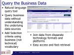 query the business data