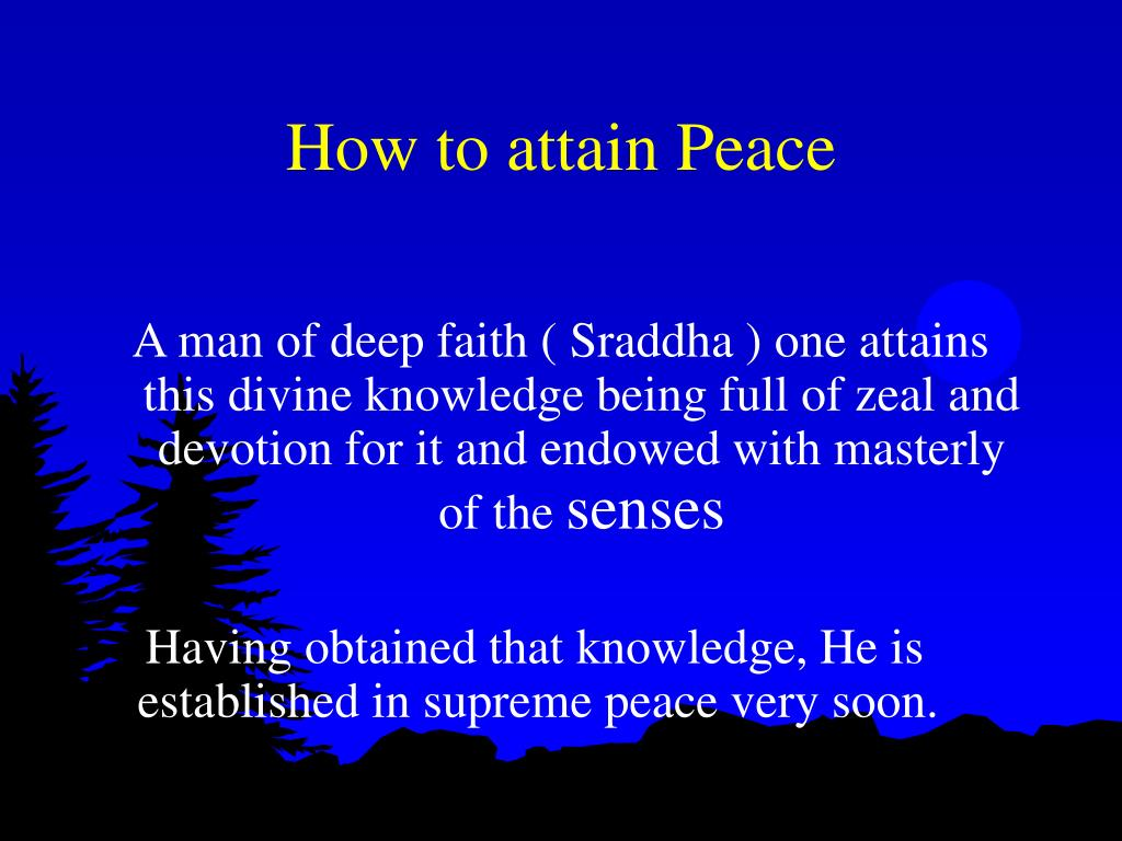 How to attain Peace