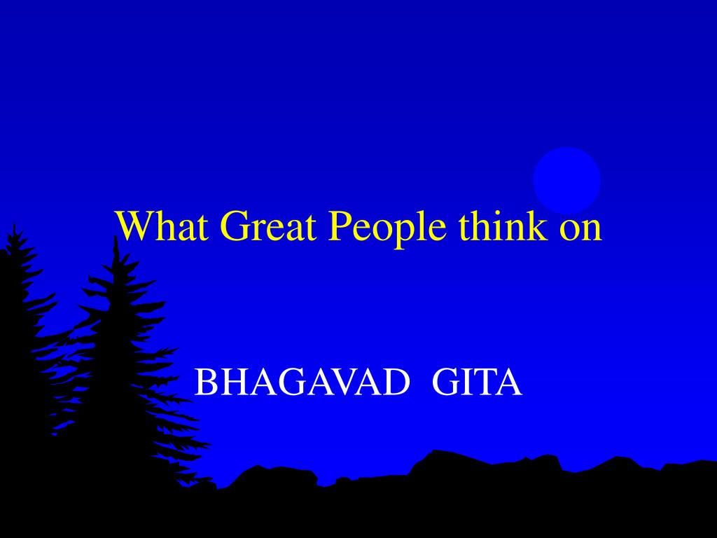 What Great People think on