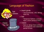 language of fashion